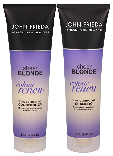 John Frieda Sheer Blonde Colour Renew Tone-Correcting, DUO set Shampoo + Conditioner, 8.45 Ounce, 1 each (John Frieda Blonde Sheer Shampoo)