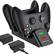 #LightningDeal Xbox One Controller Charger, Xbox One Controller Battery Pack with Charger Station, BEBONCOOL 2x1200 mAh Xbox One Battery Pack Rechargeable for Xbox One/One S/One X/Xbox Elite Controller