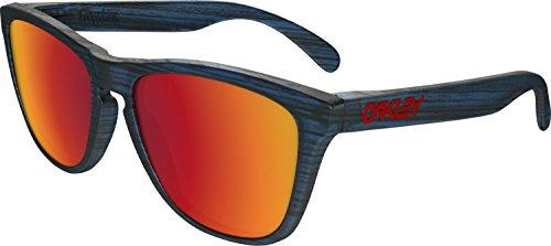 Oakley Men's Frogskins Non-Polarized Iridium Square Sunglasses, MATTE BLUE WOODGRAIN, 55 mm