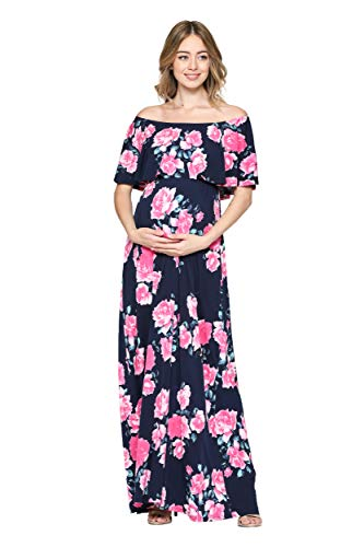 Hello MIZ Women's Ruffle Off The Shoulder Maxi