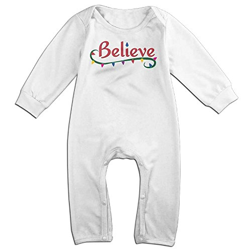 Baby Girls Boys Christmas Santa Clause Believe Long Sleeve Climb Jumpsuit 24 Months (Miss Living Dead Costume)