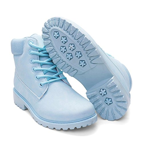 Damen Martin Stiefel, Weihnachtsgeschenk SHOBDW Damen Stiefel Flach Stiefeletten Outdoor Freizeit Biker Boots Blau