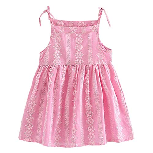 (TEVEQ Toddler Kid Baby Girl Dress Flower Striped Princess Party Dress Sundress Clothes Pink)
