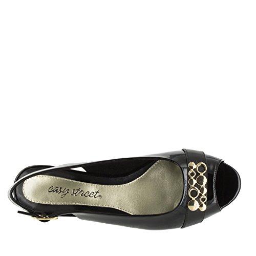 Facile Rue Femmes Imprompt Wedge Sandale Noir Brevet