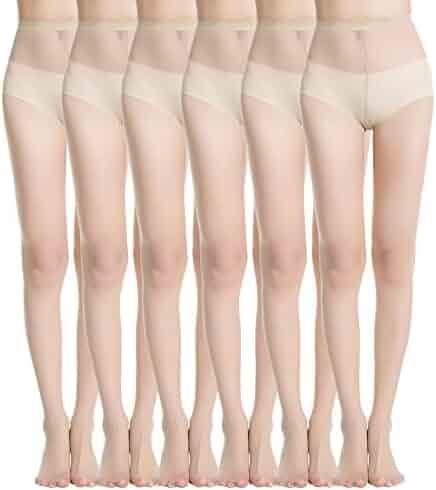 60cb14511 MANZI 6 Pairs Women s High Waist Black Nude 20 Denier Silk Sheer Pantyhose