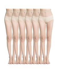MANZI Pantyhose for Women 6-Pack Sheer Nylon Tights 20-Denier Casual Hosiery