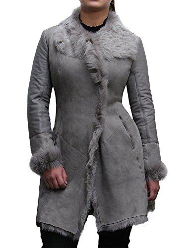 Brandslock Sheep Lamb Suede Finish Ladies Real Toscana Sheepskin Leather Coat (Lamb Suede)