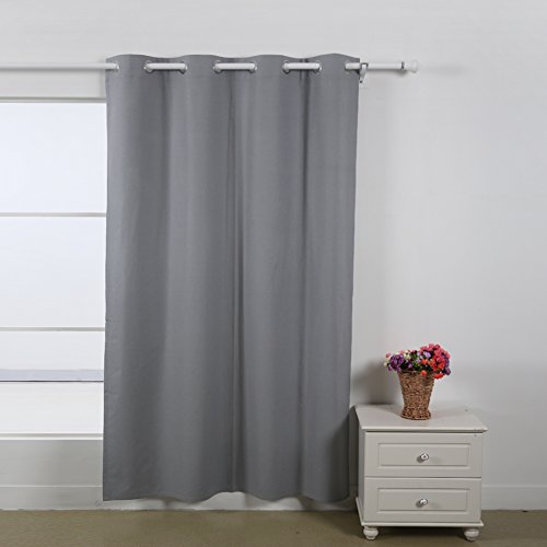 Deconovo Kitchen Curtains Thermal Insulated Grommet Curtain Panel 52WX84L with Silver Coating to Reflect Sunlights for Boys room 1 Panel Light Grey