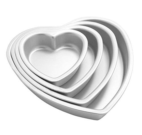 (Agile-Shop 4-piece Aluminium Heart Shaped Cake Pan Set Tin Muffin Chocolate Mold Baking with Removable Bottom - 5