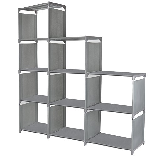9 Cube Storage Shelves, SJHL DIY Modular Closet Organizer Unit and Bookshelf Cabinet for Clothes, Toys, Books and Shoes (Grey) by SJHL