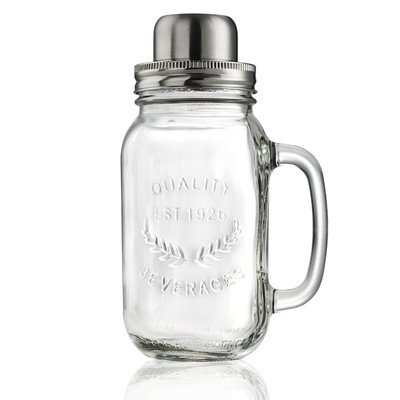 Artland Masonware 22 oz Cocktail Shaker, Glass, Small (Holiday Ounce Jar 22)