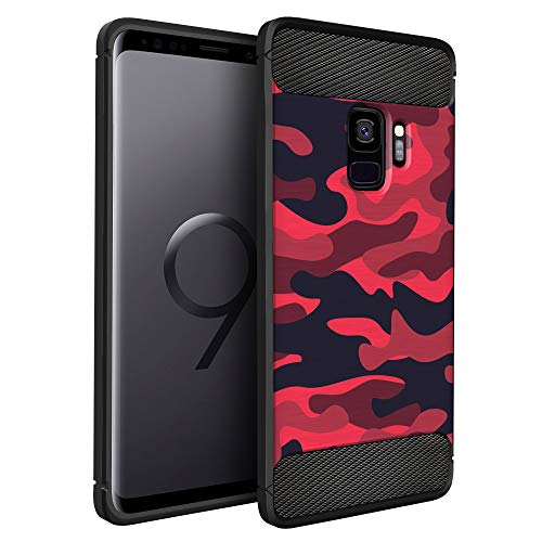 (CasesOnDeck Case Compatible with Samsung Galaxy S9 -Flexible and Durable Shock Absorption with Carbon Fiber Accents and Designs (Red Camo))