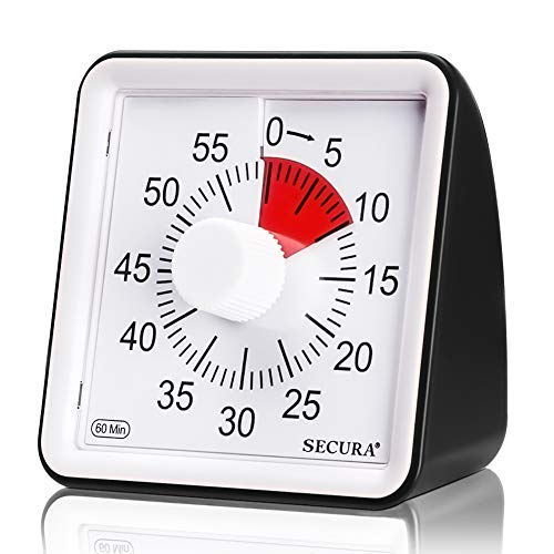 Secura 60-Minute Visual Timer, Classroom Countdown Clock, Silent Timer for Kids...