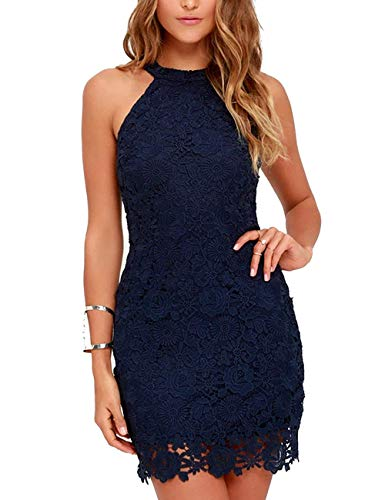 Elly Sily Women's Casual Sleeveless Halter Neck Party Summer Lace Mini Dress (Navy Blue,XL)
