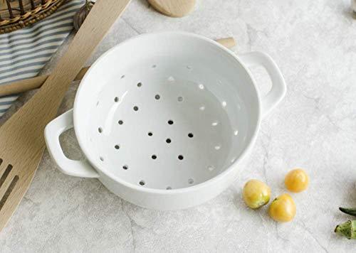 Fyuan Ceramic Porcelain Colander Kitchen Strainer Bowl for Vegetable Fruit Kitchen Tool, White, 6×2.8 Inch, Pack of 1
