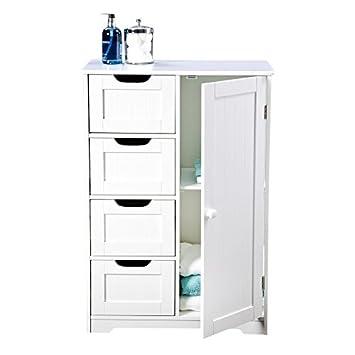 Badezimmer Schrank Aufbewahrung U2013 Vier Schubladen, Weiß Holz Und  Freistehend, Für Schlafzimmer, Living