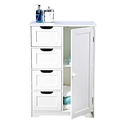 Bathroom Cabinet Storage - Four Drawers, White Wooden and Freestanding, suit Bedroom, Living and Hallway - Sennen range by Elegant Brands EB49055