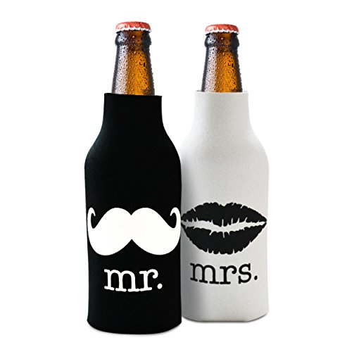 Mr. and Mrs Front and Back Printed Wedding, Anniversary, Newlywed, Bridal Shower Bottle Cooler Gift Set - Gift for Bride, Mom, Women Her- Present for Couples - Set of (Bride Zipper)