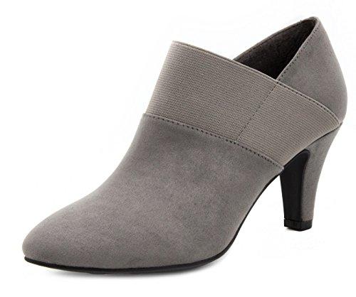 London Fog Womens Bobbie Heel Ankle Booties Grey - Bootie Pump