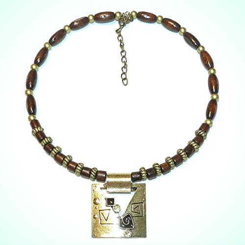 Wood & Steel Bead Necklace For Women with Gold Pewter Alloy Metal Focal Pendant 15