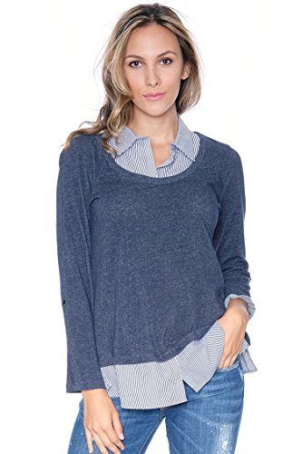 Faux Layered Collared Top Blue L
