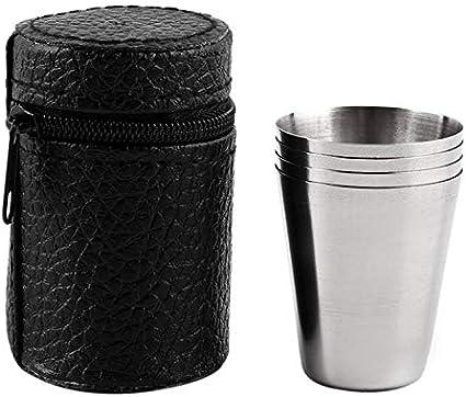 Juego de 4 tazas de acero inoxidable con funda ideal para ...