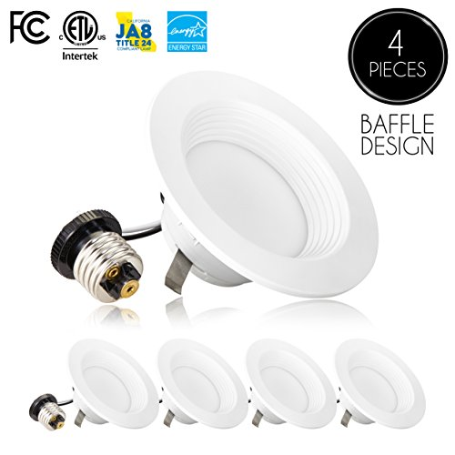 Recessed Ceiling Fixtures ((4 Pack)- 4-inch Dimmable LED Downlight, 9W (65W Replacement), Baffle Design, 4000K (Cool White), 600 Lm, Dimmable, ENERGY STAR, Retrofit LED Recessed Lighting Fixture, LED Trim, LED Ceiling Light)