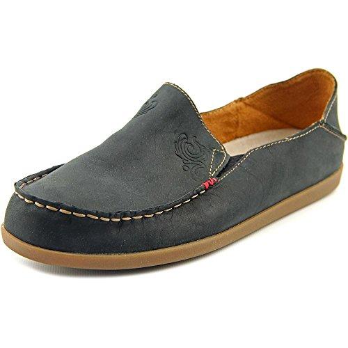 (OLUKAI Women's Nohea Nubuck Slip On Shoes, Black/Tan, 9 M US)