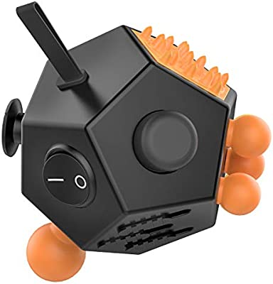 Atic 12 Sided Fidget Cube Fidget Twiddle Cube Dodecagon Stress Relief Hand Toy Decompression For Add Adhd Autism Kids And Adults Black Orange Amazon Com Au Toys Games