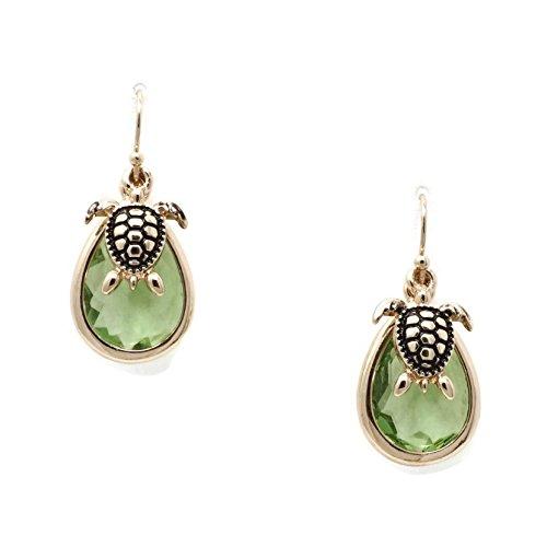 Turtle Charm Resin Faceted Tear Drop Aquamarine Color Stone Dangle Earrings (Earrings Charm Turtle)
