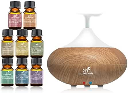 ArtNaturals Essential Oil Diffuser and Top 8 Essential Oil Set Peppermint, Tee Tree, Rosemary, Orange, Lemongrass, Lavender, Eucalyptus and Frankincense Auto Shut-Off and 7 Color LED Lights, 10 mL