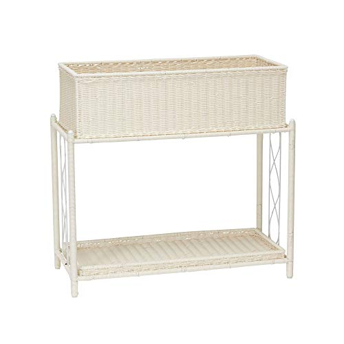 Two Wicker Basket Stand - Household Essentials ML-5017 Indoor Outdoor Resin Wicker Planter Stand, 2 Piece
