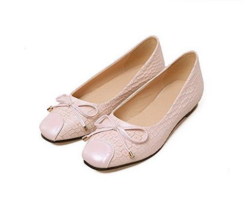 Balamasa Dames Modèle En Pierre À Bout Carré Imitation Cuir Pompes-chaussures Rose