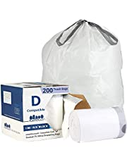 """Plasticplace Custom Fit Trash Bags │ Simplehuman Code D Compatible (200 Count) │ White Drawstring Garbage Liners 5.2 Gallon / 20 Liter │ 15.75"""" x 28"""""""