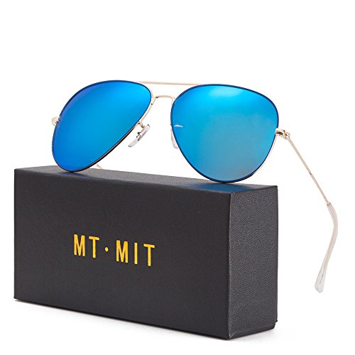 Blue Polarized Lens (MT.MIT Classic Retro Aviator Style Polarized Sunglasses 100% UV)