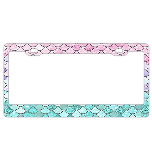 Hopes's Auto Decorative Frames License Plate Frame, Aluminum Metal License Tag Frame, 2 Holes Car License Plate Cover Holder for US Standard - Bling Pastel Mermaid Scales ()