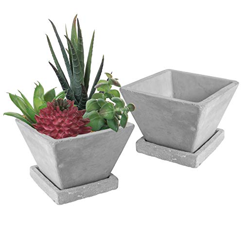 - MyGift Modern 4-Inch Cement-Gray Tapered Square Succulent Planter Pots with Removable Drip Tray, Set of 2