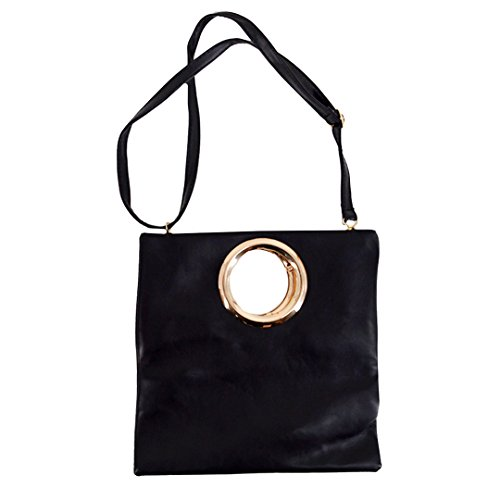 Kennedy Fashion Women Metal Ring Envelope Bag Folding Clutch Bag New Shoulder Bag Messenger Bag Handbag(Black) - New Folding Handbag Purse
