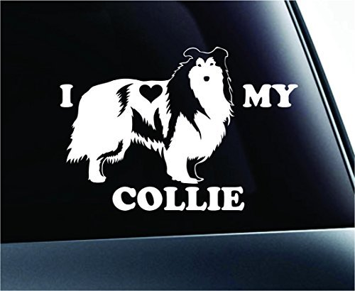 I Love My Collie Dog Symbol Decal Paw Print Dog Puppy Pet Family Breed Love Car Truck Sticker Window (White), Decal Sticker Vinyl Car Home Truck Window Laptop
