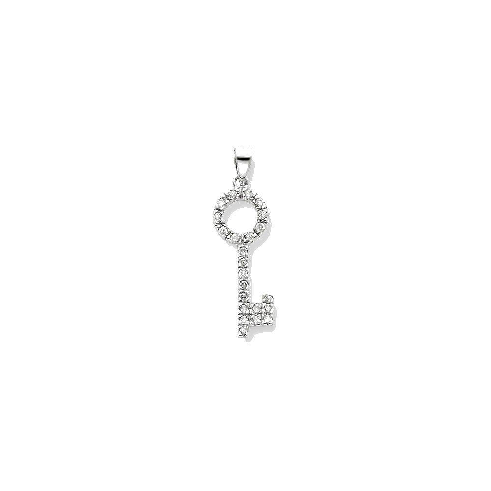 Goldia Sterling Silver CZ Key Shape Pendant