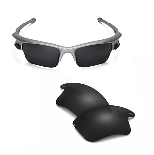Walleva Replacement Lenses Or Lenses/Rubber for Oakley Fast Jacket XL Sunglasses - 44 Options Available (Black - Mr. Shield Polarized) by Walleva