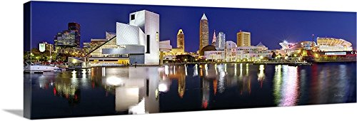 "CANVAS 2018 Cleveland Skyline NIGHT Color 16"" x 46"" Rock Roll Hall Fame City Print Photo Picture"