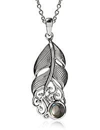 Abalone/Paua Shell 925 Sterling Silver Feather Victorian Style Pendant w/ 18 Inch Chain Necklace