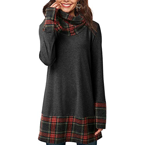 (Womens Long Sleeve Cowl Neck Tunic Tops Casual Plaid Sweatshirts Pullover Dark Gray)