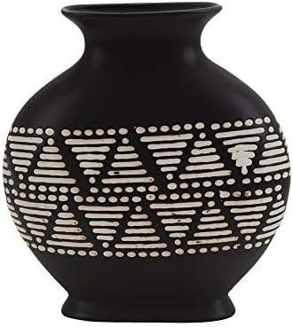 Sagebrook Home 14086-01 Ceramic 12 Tribal Vase, Brown, 11.5 L x 4 W x 12 H