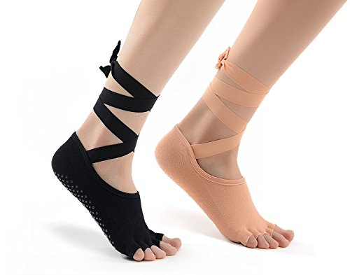 Barre or Yoga Toe Exercise Socks Pilates Barre Sock with Grip for Girl Women