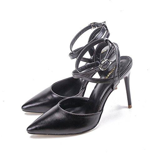 donna in da metallo tacco fine Black banchetto Tacchi matrimonio Punta Jqdyl cinturino alti scarpe wq7xPF