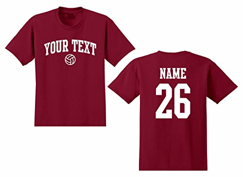 Men's Custom Personalized T-shirt, Volleyball Arched Text, Back Name & Number (Short T-shirt Volleyball Sleeve)