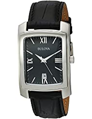 Bulova Mens Quartz Stainless Steel and Leather Casual Watch, Color:Black (Model: 96B269)