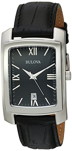 Bulova Men's Quartz Stainless Steel and Leather Casual Watch, Color:Black (Model: 96B269)